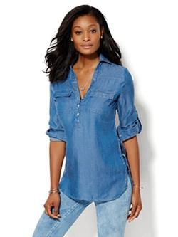 NY Deals - Soho Soft Shirt- Chambray Tunic