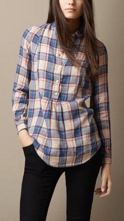 Burberry - Bib Detail Check Linen Cotton Tunic Top