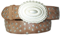 Fronhofer - Weathered Leather Studded Belt