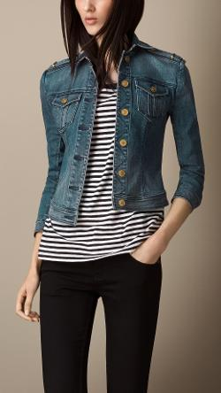 Burberry - FITTED STRETCH-DENIM JACKET