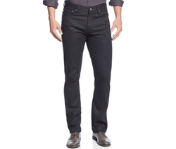 Alfani BLACK - Deker Straight-Fit Coated Black-Wash Jeans
