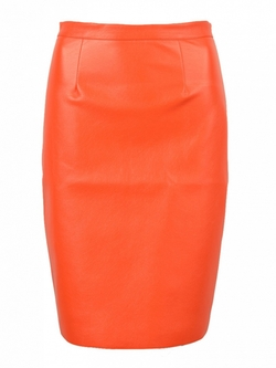 Choies - Orange Pu Split Back Pencil Skirt