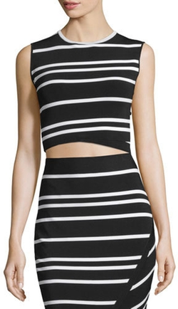 Ted Baker London - Onissa Sleeveless Bias-Striped Crop Top