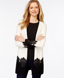 Charter Club - Lace-Trim Open Cardigan
