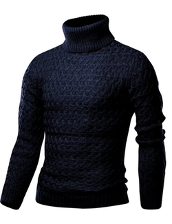 Harrison83 - Turtleneck Solid Cable Sweater