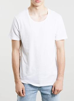 Topman - Grunge Scoop White T-shirt