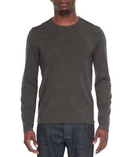 John Varvatos Star USA  - Leather-Trimmed Crewneck Sweater