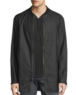 John Varvatos Star Usa - Linen-Blend 3/4-Length Zip-Up Jacket