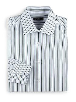 Saks Fifth Avenue Collection  - Striped Cotton Dress Shirt