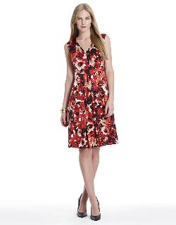 Jones New York  - Floral Print Pleated A-line Dress