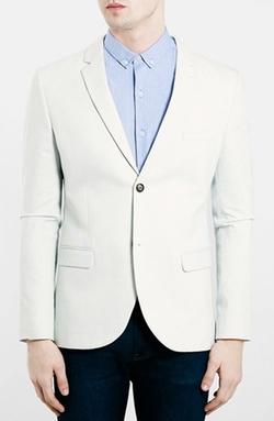 Topman  - Ice Grey Skinny Fit Jersey Blazer