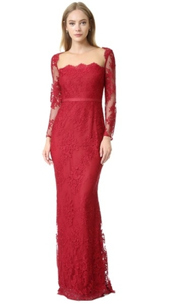 Marchesa Notte - Long Sleeve Lace Gown