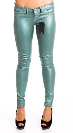 Flying Monkey  - Sea Green Metallic Foiled Jeans