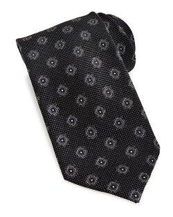 Neiman Marcus  - Textured Medallion-Print Woven Silk Tie