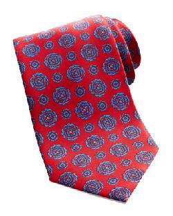 Brioni - Medallion-Print Silk Tie, Red