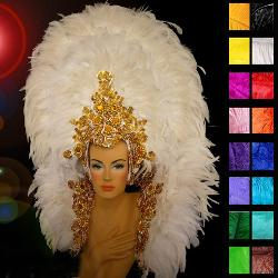 Latin Dance Fashions - Samba White Swan Showgirl Headdress and Backpack