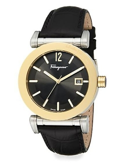 Salvatore Ferragamo - Goldtone Stainless Steel & Leather Strap Watch