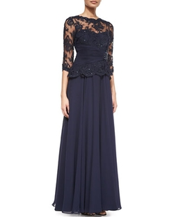 Rickie Freeman For Teri Jon - Lace Chiffon Peplum Gown