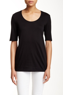 Susina  - Scoop Neck Elbow Sleeve Tee