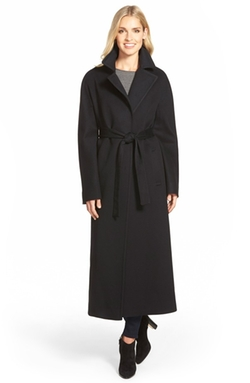 Fleurette - Long Wool Belted Notch Collar Coat