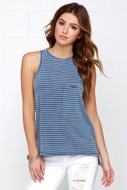 Lulus - Heartline Of Work Striped Tank Top