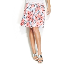 INC International Concepts - Petite Floral-Print A-Line Skirt