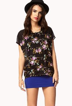Forever 21 - Floral Paneled Tee