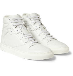 Balenciaga   - Embossed Leather High Top Sneakers