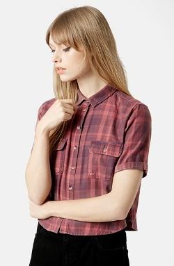Topshop  - Moto Plaid Crop Shirt