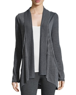 Marc NY Performance - Slub-Jersey Open-Front Cardigan, Smoke