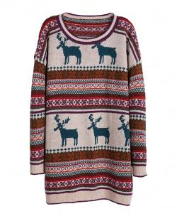 Chicnova - Elk & Ethnic Stripes Pattern Pullover