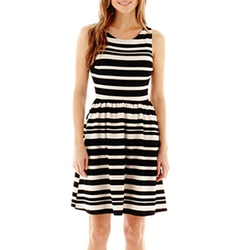 S.H.E. - Sleeveless Striped Fit-And-Flare Dress