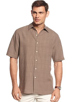 Tasso Elba Island  - Piece Dyed Plaid Textured Silk-Linen Blend Shirt