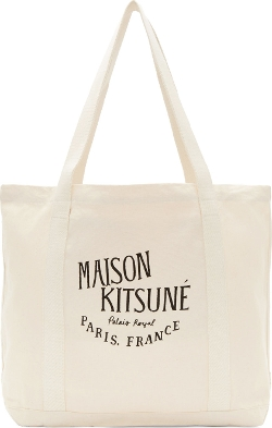 Maison Kitsuné - Off-White Canvas Logo Tote Bag