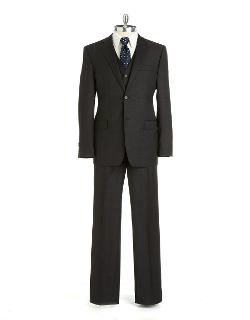 Black Brown 1826  - Slim Fit Plaid Three-piece Wool Suit