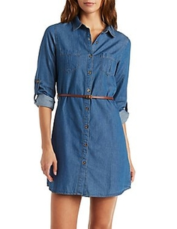 Charlotte Russe - Belted Button-Up Chambray Shirt Dress