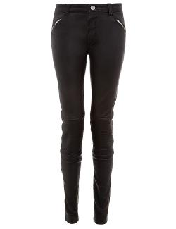 BLK DNM  - Leather Ribbed Knee Trousers 1