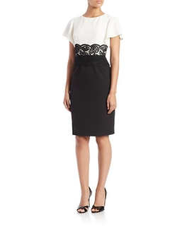 Adrianna Papell -  Lace-Accented Colorblock Sheath Dress