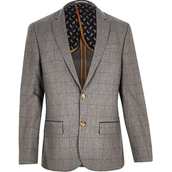 River Island - Check Wool-Blend Slim Blazer