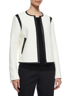 Magaschoni - Boucle Jacket W/ Faux-Leather Trim