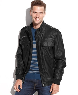 Calvin Klein - Faux Leather Bomber Jacket