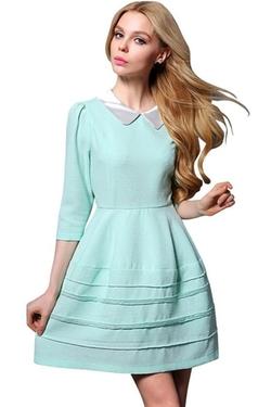 Azbro - Peter Pan Collar A-Line Dress