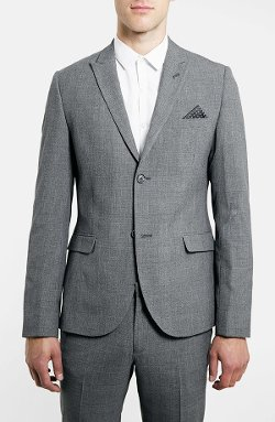 Topman - Grey Glen Plaid Slim Fit Suit