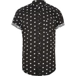 River Island - Black Star Print Short Sleeve Shirt