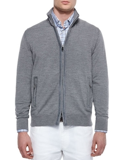 Brioni -  Full-Zip Wool Cardigan with Suede Trim