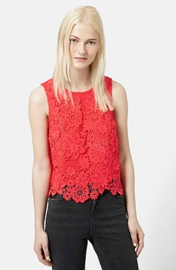 Topshop  - Floral Crochet Shell Top