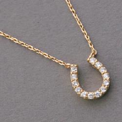 Kellin Silver - Pave Swarovski Gold Horseshoe Necklace Sterling Silver