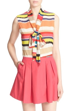 Alice + Olivia - Indira Stripe Stretch Silk Top