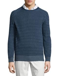 Loro Piana - Baby Cashmere Striped Crewneck Sweater, Blue