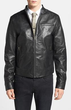 Topman  - Retro Leather Biker Jacket